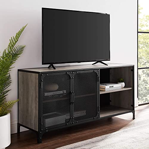 Walker Edison Furniture Company Industrial Metal Mesh Stand with Cabinet Doors 58 Flat Screen Universal TV Console Living Room Storage Shelves Entertainment Center, 52 Inch, Gray Wash