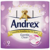 Andrex Gentle Clean, Puppies on a Roll Toilet Tissue Paper - 9 Rolls