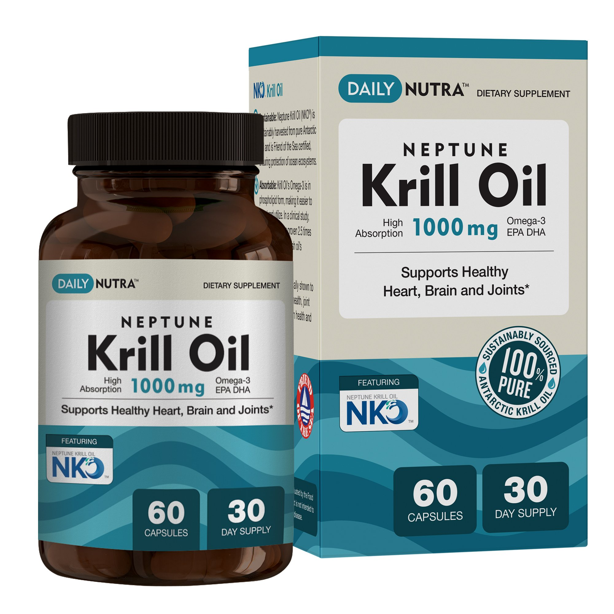 Neptune Krill Oil 1000mg High Absorption Omega-3 EPA DHA & Astaxanthin. Pure and Sustainable. Clinically shown to support healthy heart, brain and joints (60 Softgel Capsules)