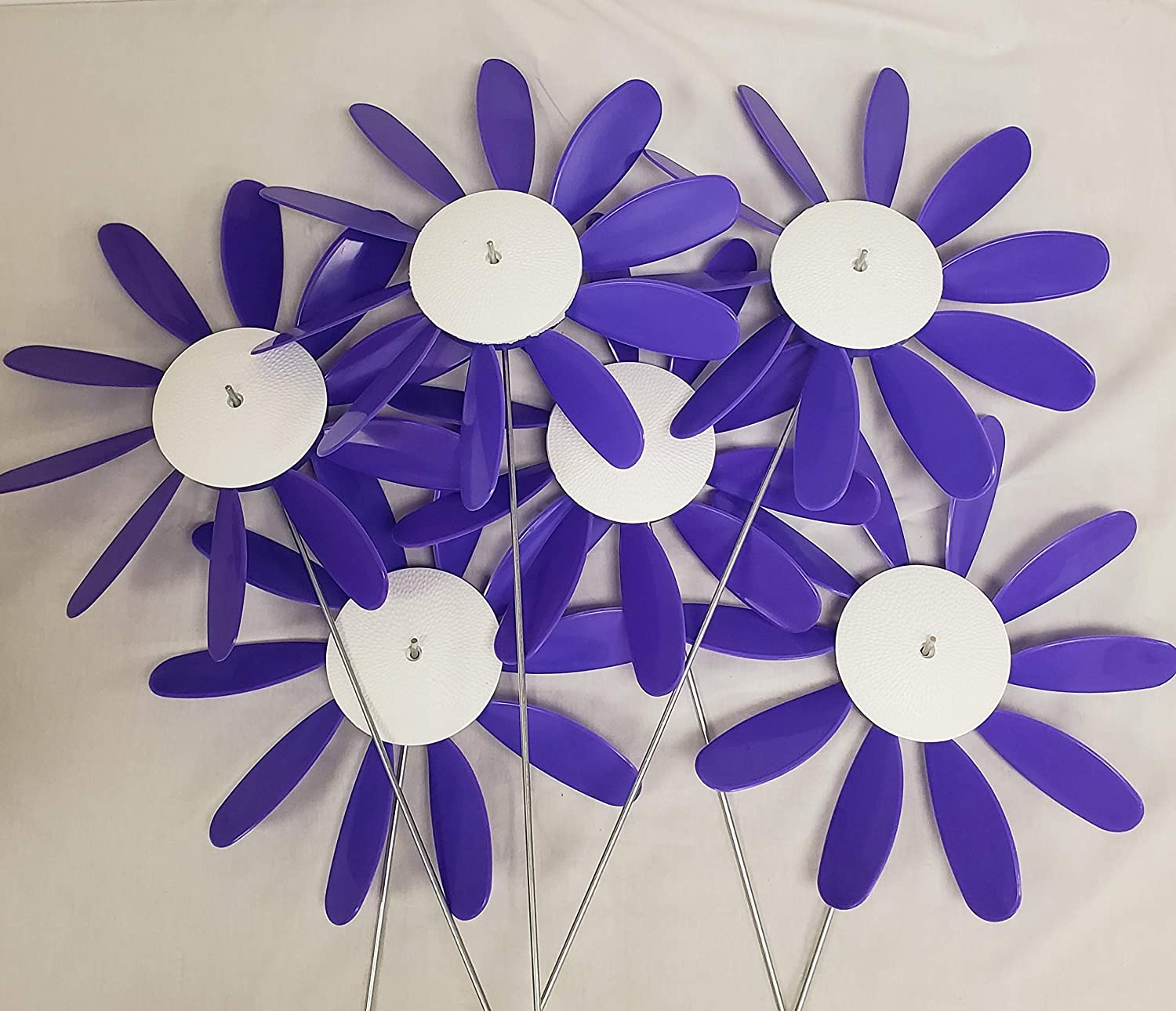 "Domestic Violence,Beloit Plastics 12"" Dia. Spinning Daisy (6 Pack) – 24"" Tall Pinwheel & Wind Spinner for Garden,Lawn,Patio – Vibrations May Irritate Moles - Front & Back Yard Decoration – USA Made"