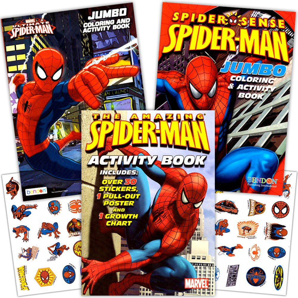 amazon com marvel spiderman coloring book set with stickers and