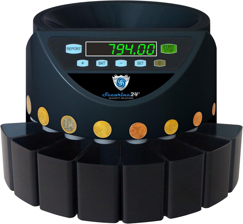 Securina24 SR1200BBB - Contador de monedas automático, color negro