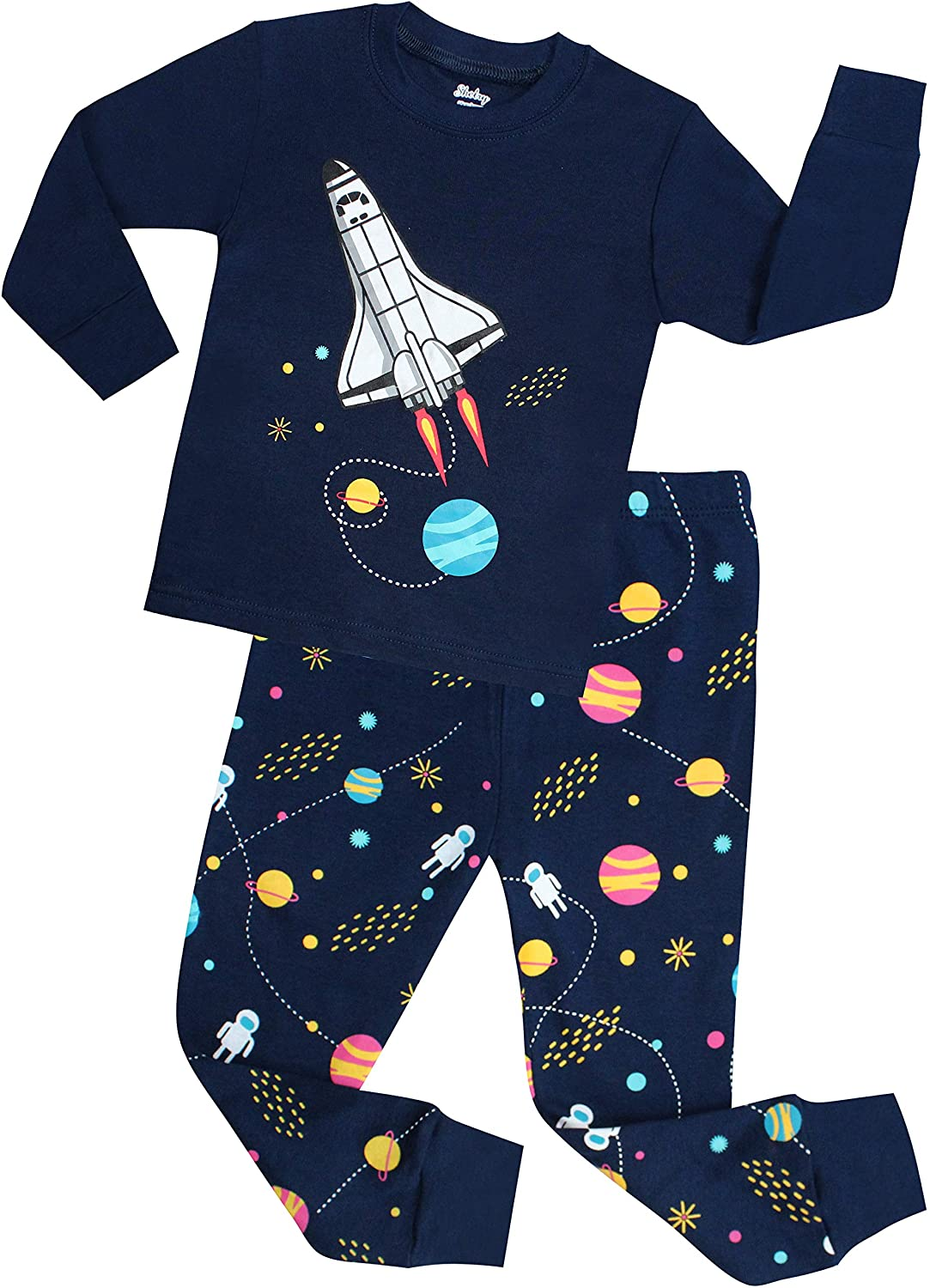 shelry Boys Rocket Pajamas Children Christmas Pants Set 100% Cotton Size 2-7 Years