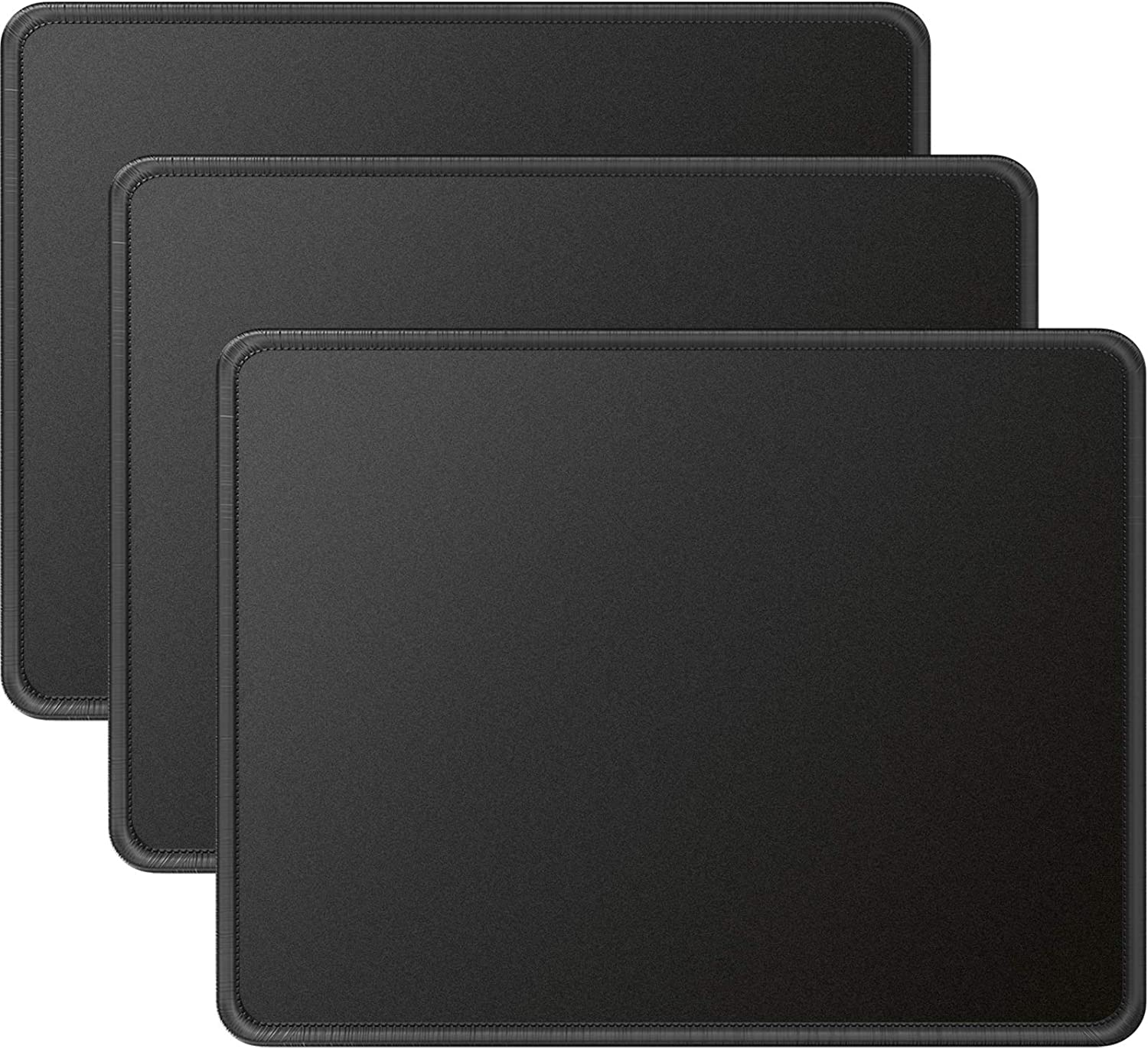 MROCO Mouse Pads Pack with Non-Slip Rubber Base, Premium-Textured and Waterproof Mousepads Bulk with Stitched Edges, Mouse Pad for Computers, Laptop, Office & Home, 11x8.5 inches, 3mm, 3 Pack, Black