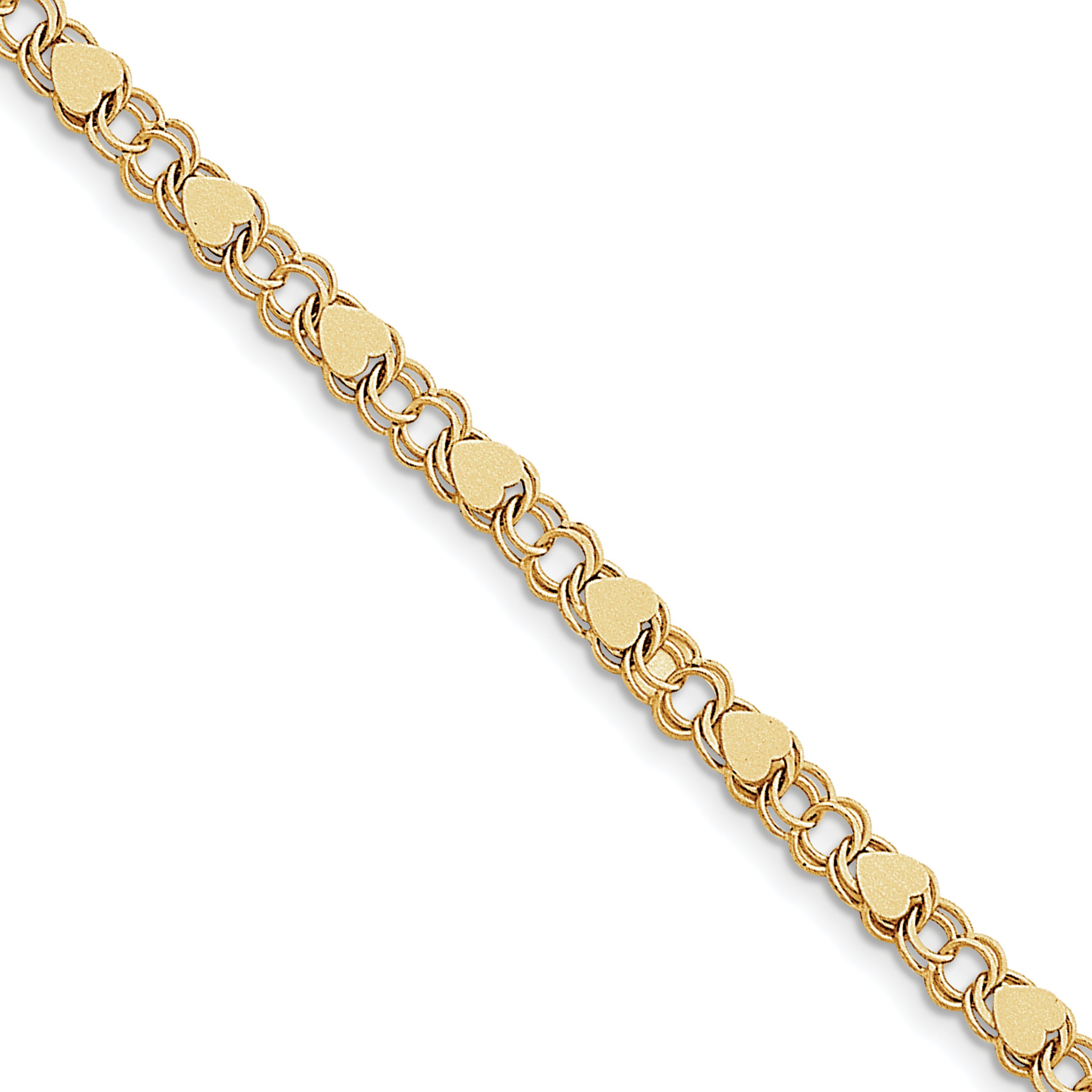 ICE CARATS 10k Yellow Gold Double Link Hearts Charm Bracelet 7 Inch Fine Jewelry Gift Set For Women Heart