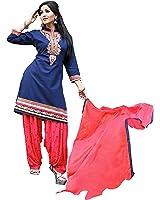 OSLC blue cotton patiala Salwar Suit Women's Cotton Patiala Salwar Bottoms Blue Designer Cotton Semi-stitched Salwar Suit