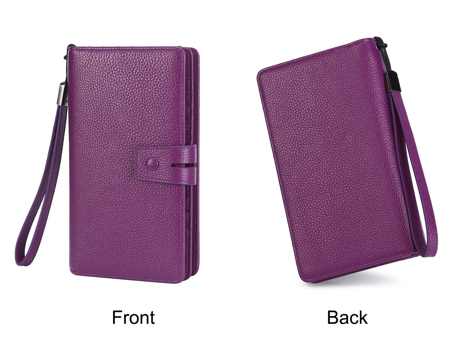 AINIMOER Women's Big RFID Blocking Leather Zip Around Wallets for Womens Clutch Organizer Checkbook Holder Large Travel Purse(Lichee Purple) by AINIMOER (Image #7)