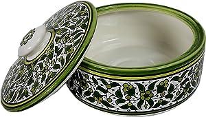 Oriental Arts Handmade Ceramic Tortilla Warmer Container, Tortilla Holder, Bread Warmer, Pancake Warmer, Tortilla Keeper, Taco Warmer With Lid, Food Storage Crock (8.7 X 8.7 X 2.8 Inches)