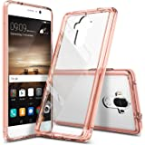 Huawei Mate 9 Case, Ringke [FUSION] Tough PC Back TPU Bumper [Drop Protection/Shock Absorption Technology][Attached Dust Caps] Raised Bezels Protective Cover For Huawei Mate 9 - Rose Gold Crystal