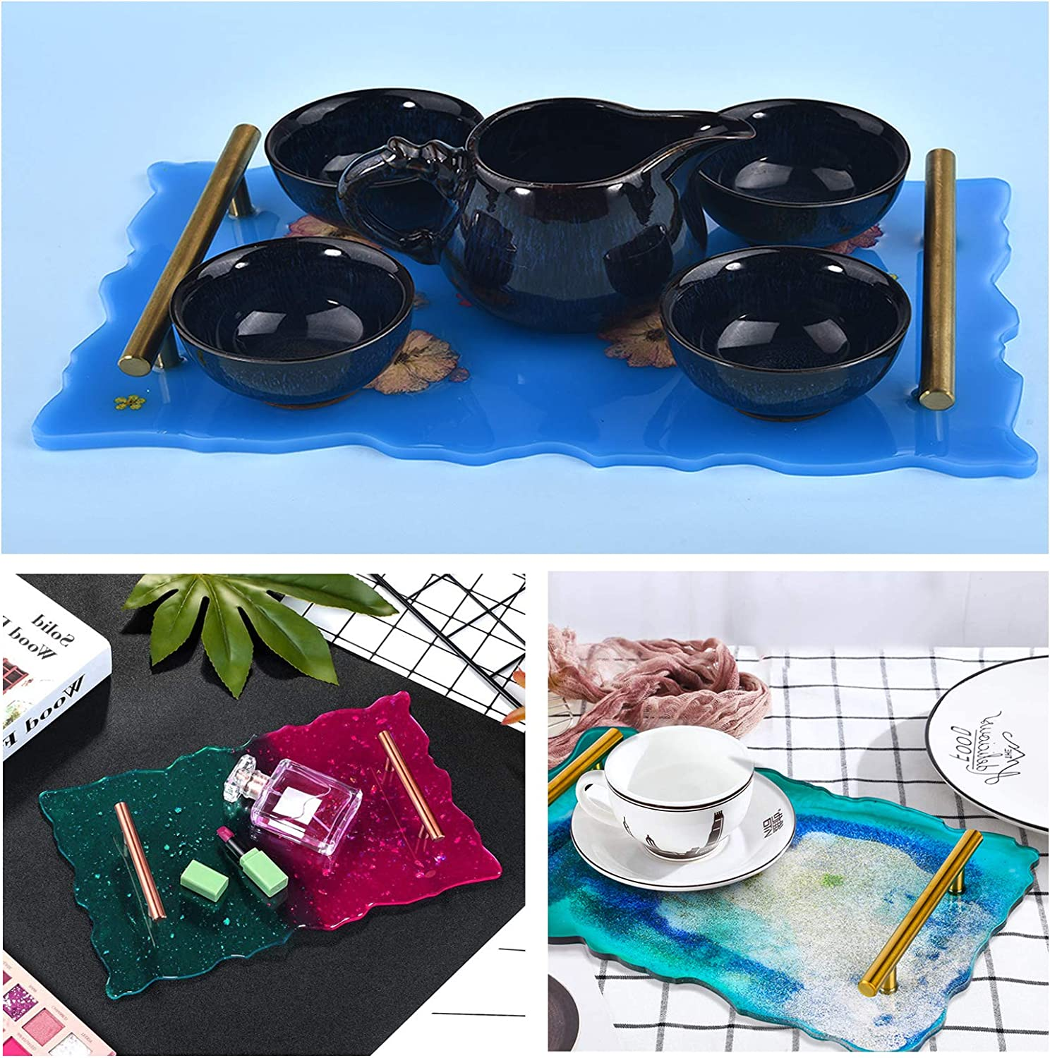 Home Decoration Coaster Silicone Tray Mold for Resin-1 Pcs Platter Mold /& 4 Pcs Coaster Molds with 2 Pcs Gold Handles Fruit Tray Epoxy Resin Craft Casting Molds for DIY Making Serving Platter