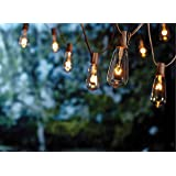 Goothy 20Ft Outdoor Patio String Lights ,set of 20 Glass ST40 Edison Style Bulb String Lights Garden/Backyard Party/ Wedding Indoor String Lights(Plus 1 Extra Bulbs)-Brown