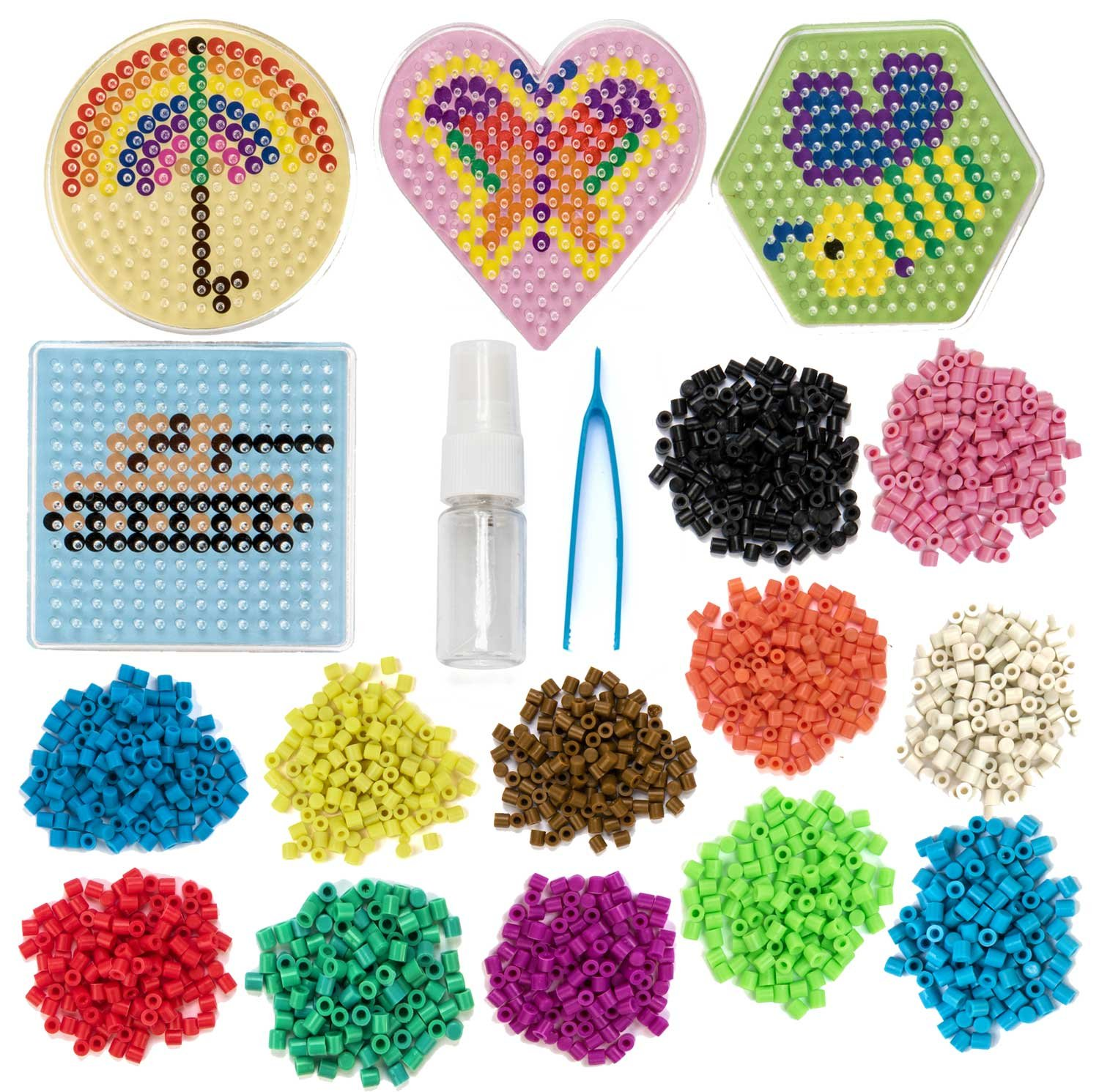 Peachy Keen Crafts No Iron Fuse Bead Kit - Design, Spray and Stay - Pegboard and Tweezers Included for Craft Lovers