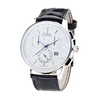 m conte men´s quartz watch white chronograph dial and black m conte men´s quartz watch white chronograph dial and black leather strap
