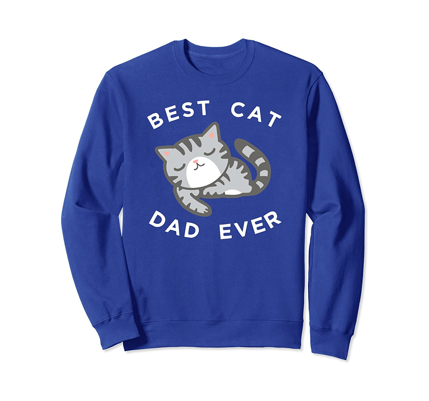 Cute Gray Cat Dad Sweatshirt, Best Kitty Father Ever Apparel-alottee gift