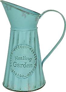 TTdayup Shabby Chic Country Vase for Home Decor, Rustic Pitcher Metal Galvanized Vintage Flower Vase Pastoral Ornament Iron Craft Farmhouse Milk Can Jug Vase Decorative Flower Holder(Light Blue) 8