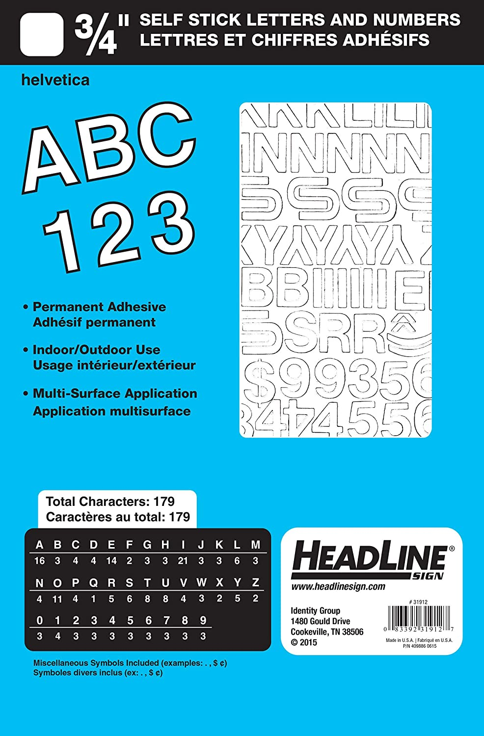 White Headline Sign 31912 Stick-On Vinyl Letters and Numbers 3//4-Inch