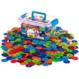 Creative Kids Brain Flakes Large 600 Piece Interlocking Plastic Disc Set for Safe, Fun, Creative Building - Educational STEM Construction Toy for Boys & Girls - Non Toxic - Ages 3 and Up