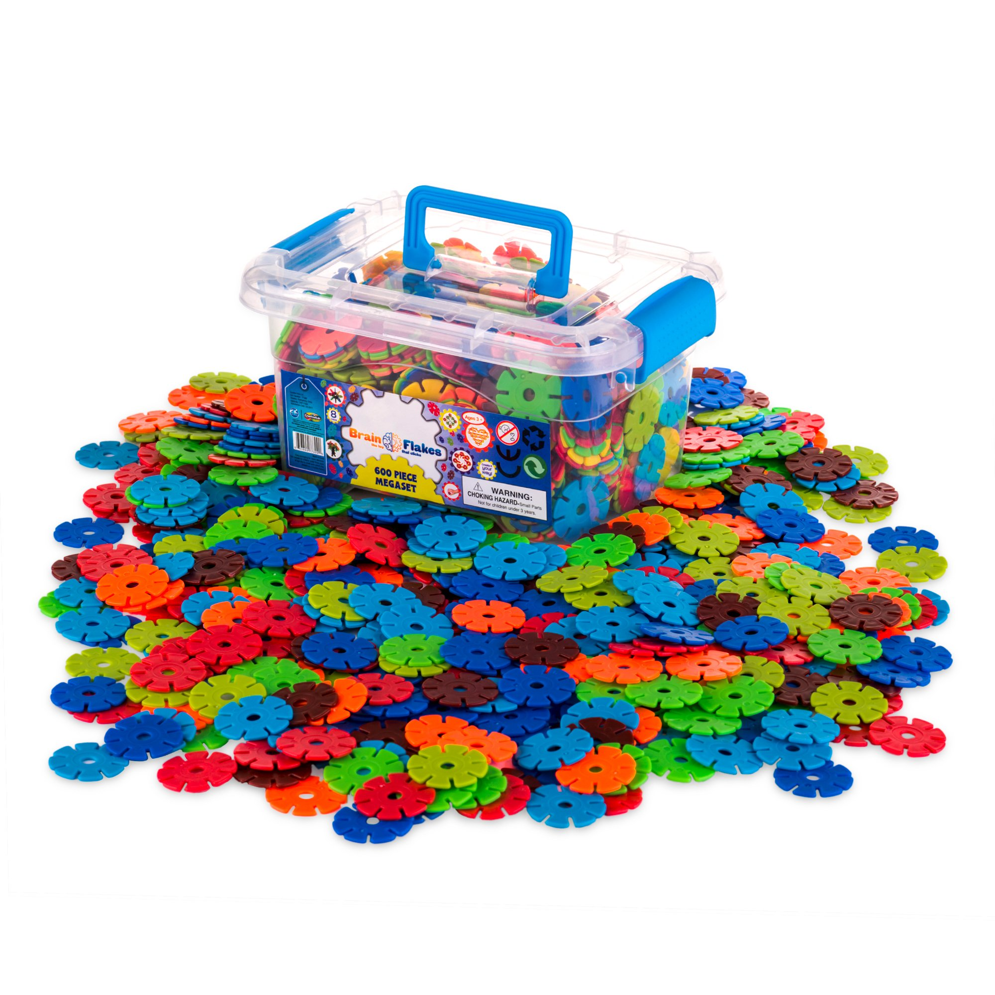 Creative Kids Flakes - 600 Piece Interlocking Plastic Disc Set for Fun, Creative Building - Educational STEM Construction Toy for Boys & Girls - Non Toxic, Ages 3 & Up (tub colors may vary)