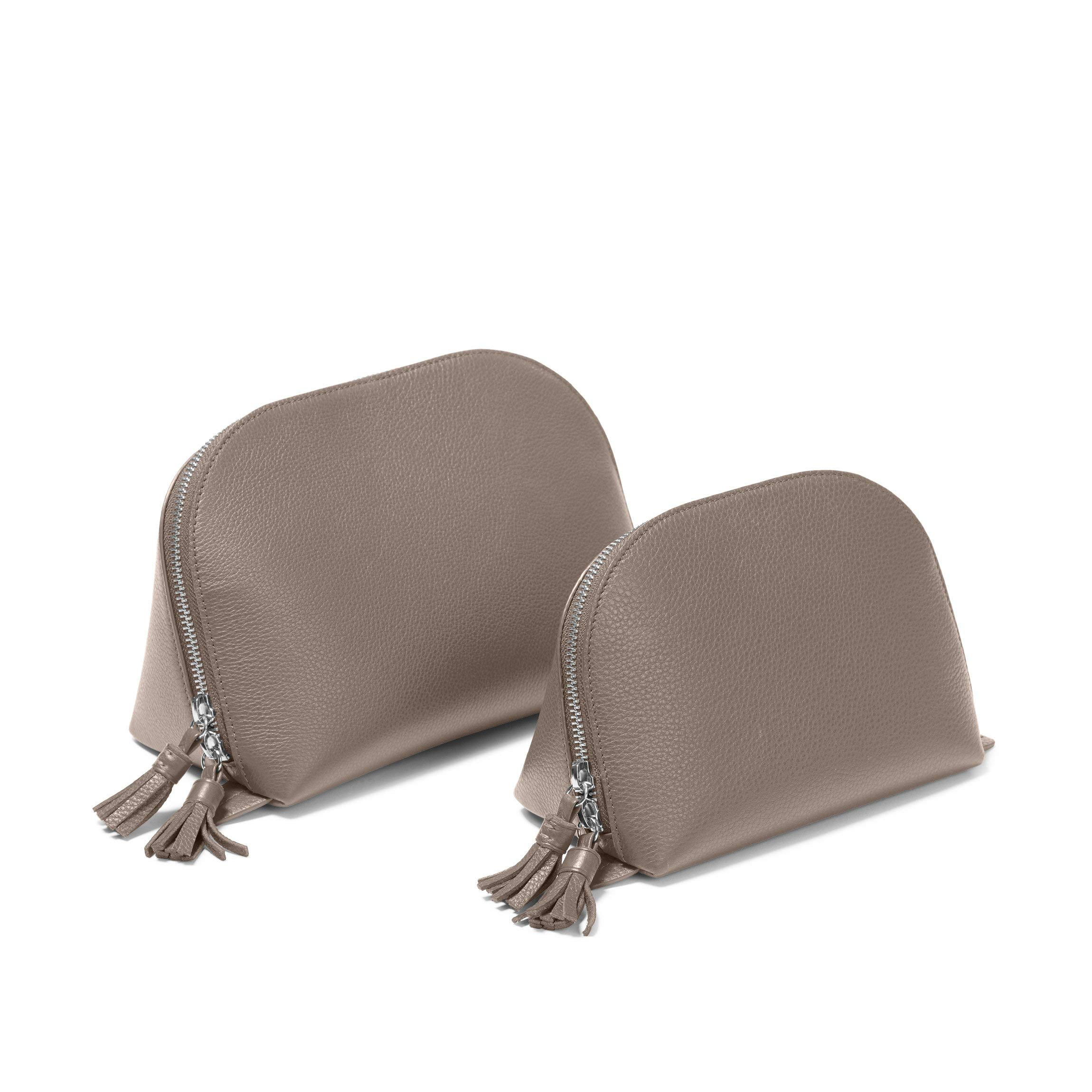 Clamshell Makeup Bag Set - Full Grain Leather Leather - Taupe (Beige) by Leatherology (Image #2)