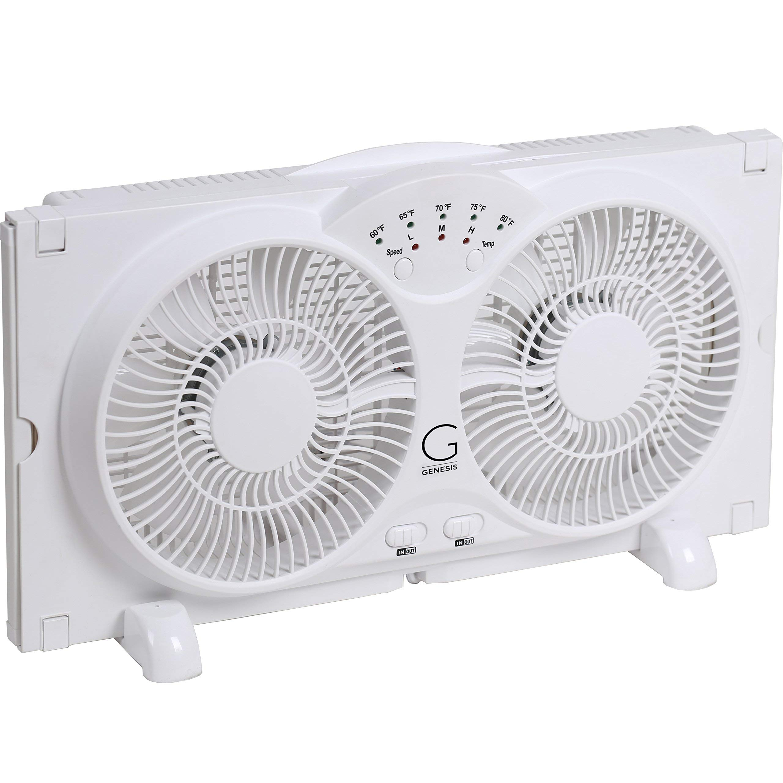 Genesis Twin Window Fan with 9 Inch Blades, High Velocity Reversible AirFlow Fan, LED Indicator Lights Adjustable Thermostat & Max Cool Technology, ETL Certified (Renewed) by Genesis