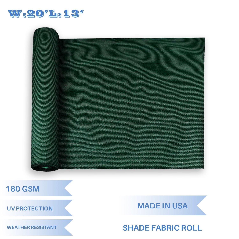 E&K Sunrise 20' x 13' Dark Green Sun Shade Fabric Sunblock Shade Cloth Roll, 95% UV Resistant Mesh Netting Cover Outdoor,Backyard,Garden,Greenhouse,Barn,Plant (Customized