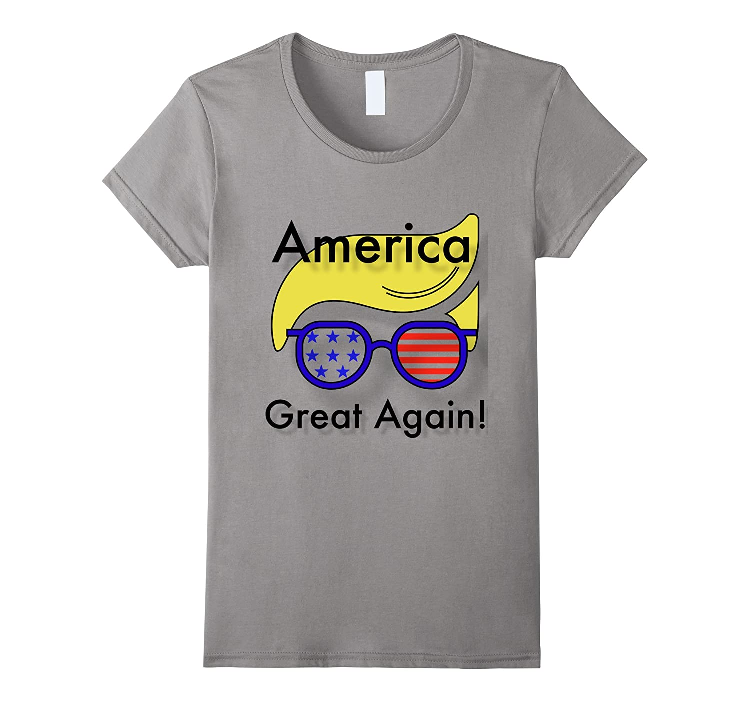 America Great Again, Trump T-Shirt with flag, combover