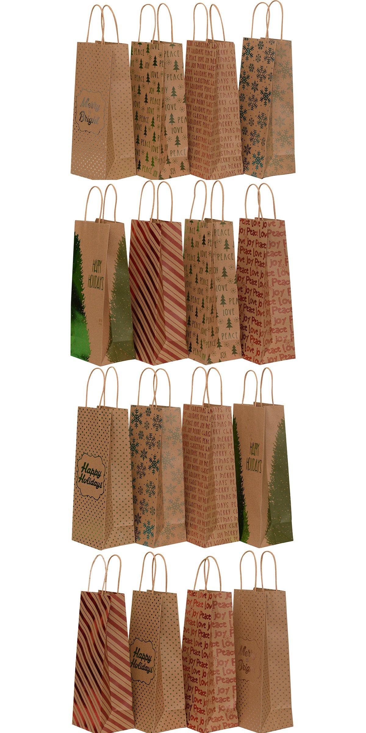Kraft Holiday Wine Gift Bags, foil hot-stamp designs, 2 packs of 8 ...
