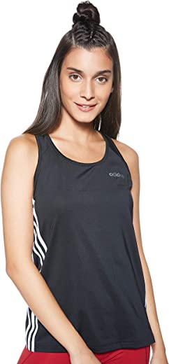 adidas womens W D2M 3S TANK SHIRT, Color: Black, Size: S
