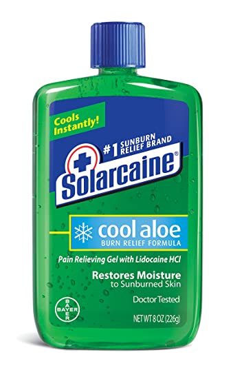 Solarcaine Cool Aloe Burn Relief Gel with Lidocaine and Aloe Vera, Doctor  Tested, Fragrance Free, Alcohol Free and Non-irritating, 1 Sunburn Relief