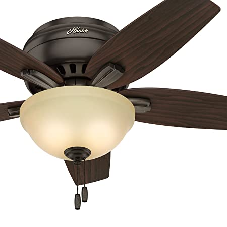 Hunter Fan 42 inch Hugger Ceiling Fan in Premier Bronze with Frosted Amber Glass Light Kit, 5 Blade Renewed