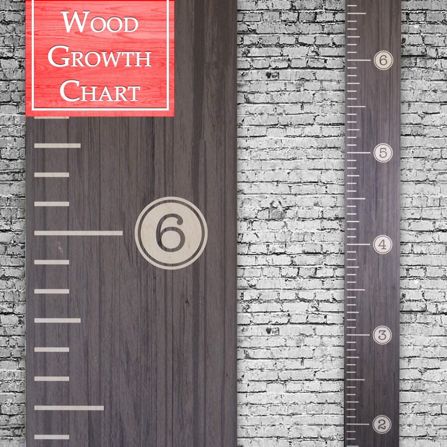 Back40Life | Premium Series - (Distressed Typewriter) Wooden Growth Chart Height Ruler (Ebony Wash)