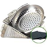 Yukon Glory 3-Piece Mini BBQ grill accessories Basket Set, for Grilling Vegetables, Chicken Pieces, Fish, Includes Bonus Scru