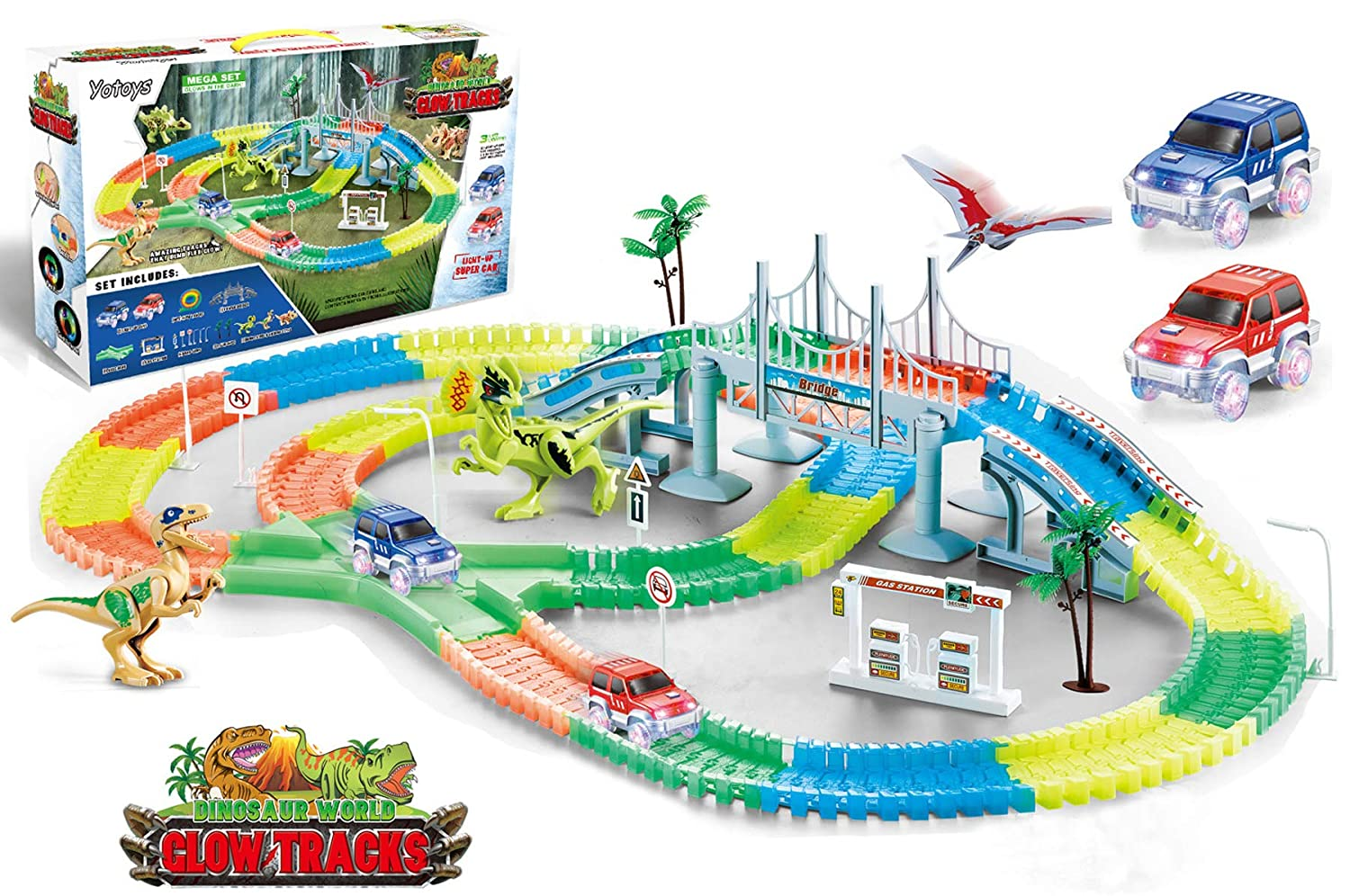 Yotoys 360 Pieces Flexible Bendable Track Set Glow in the Dark Racetrack for Kids with 2 Light-up Cars