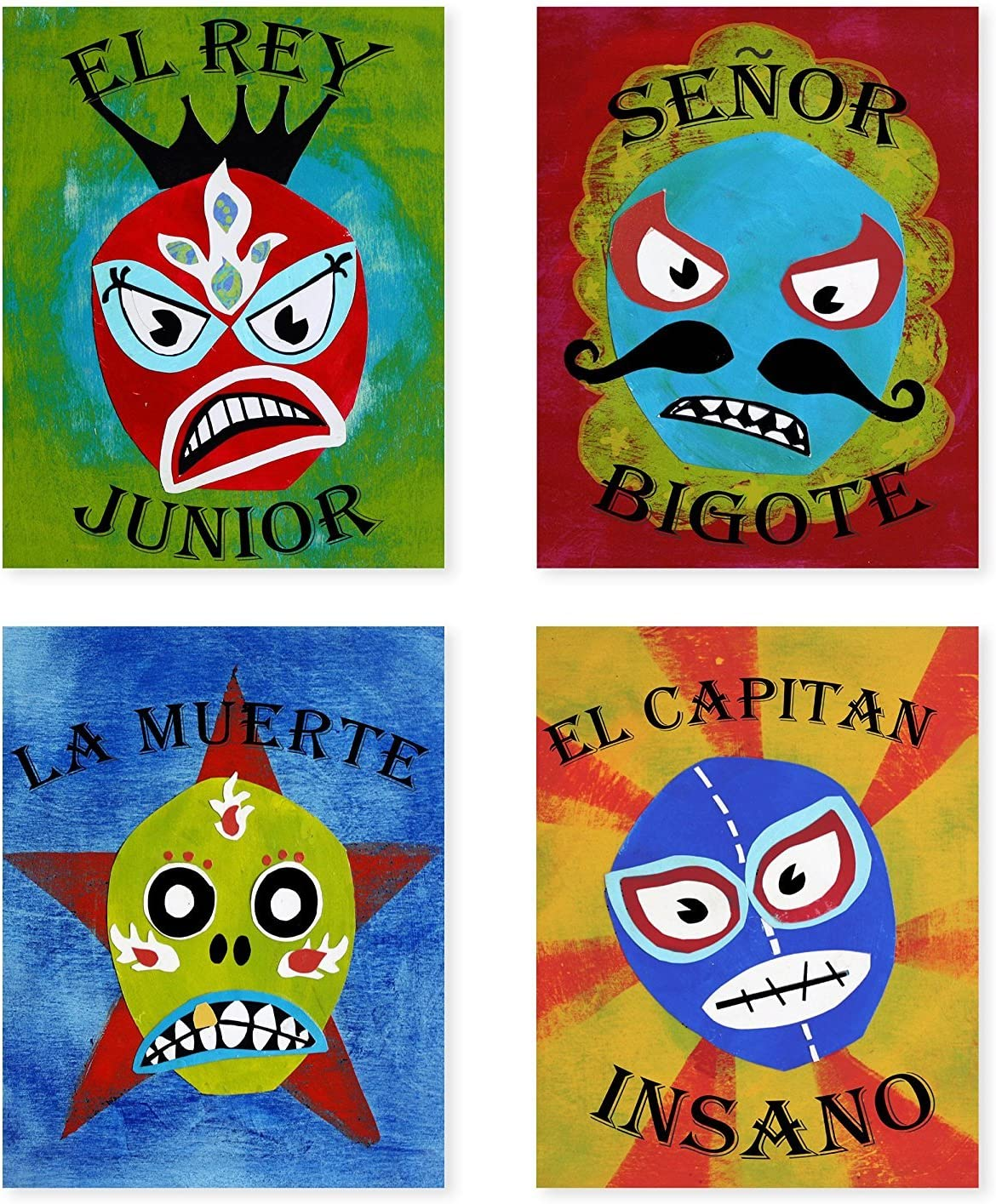 Lucha Libre, Luchador Collection, Set of 4 05x07 Inch Print, Kids wall decor, Lucha Libre, wall decor, playroom decor, nursery decor, room decor for boys, lucha libre posters, mexican lucha