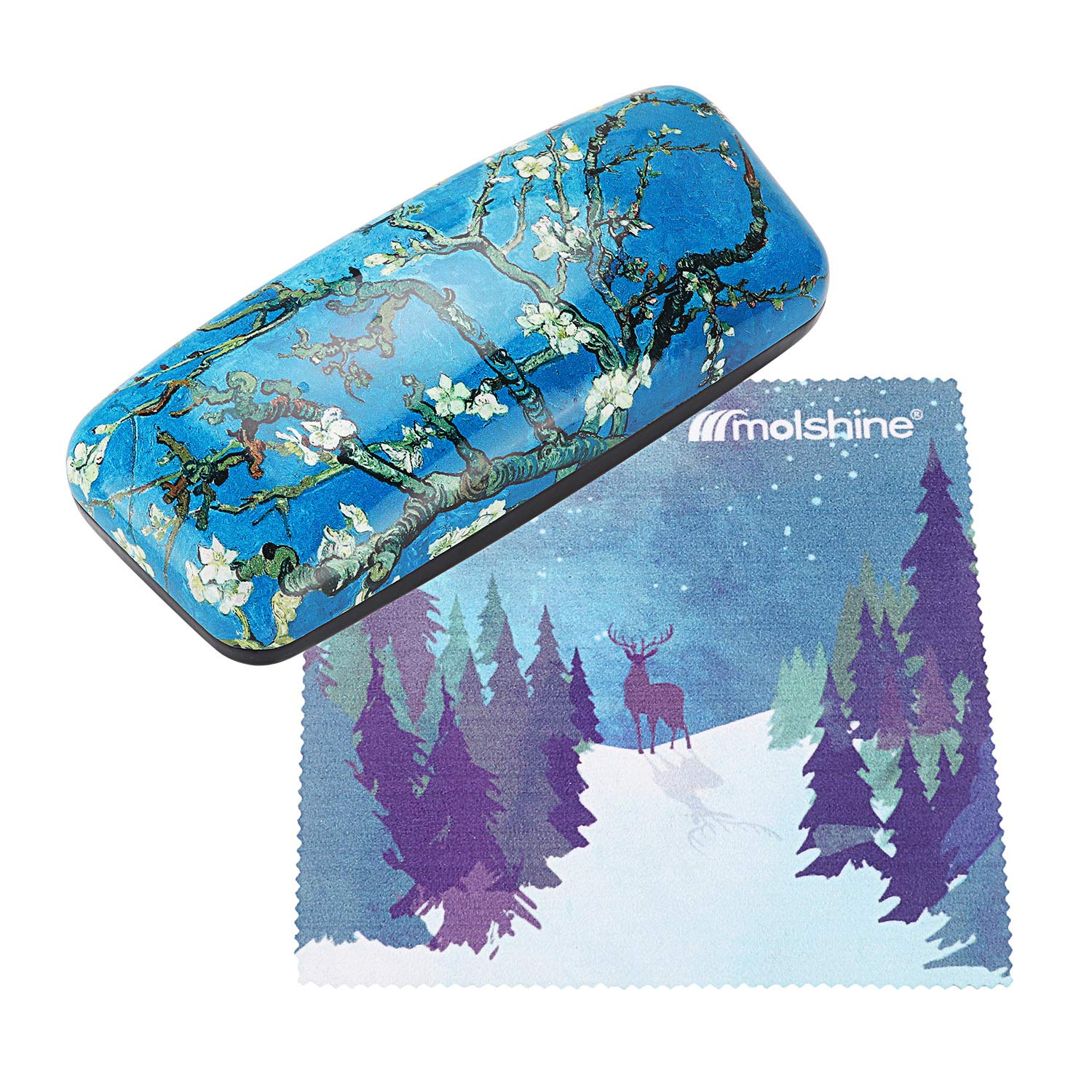 Molshine Oil Painting Pattern Portable Hard shell eyeglasses Glasses Case for Reading Glasses (C)