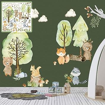 Xxl Wandtattoo Woodland Set Verschiedene Motive Kinderzimmer Aufkleber Bunt Wanddeko Kindergarten Waldtiere Wald Baum Amazon De Baumarkt