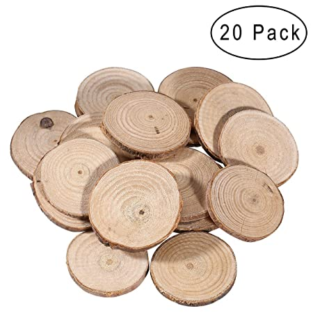 Vorcool 20pcs wood slices round wooden discs circles for craft diy vorcool 20pcs wood slices round wooden discs circles for craft diy wedding centerpieces 5 6cm junglespirit Images