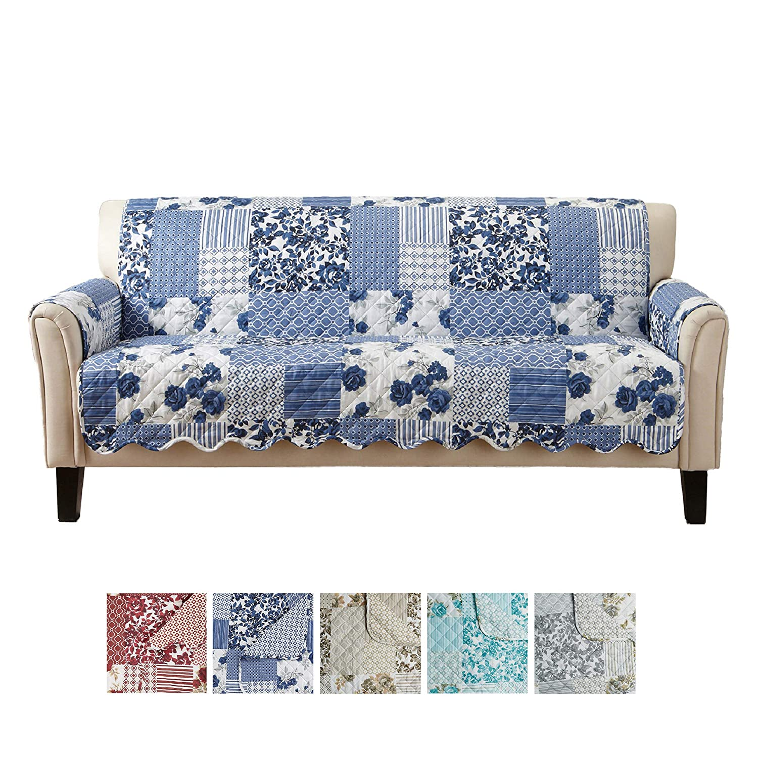 Marvelous Great Bay Home Patchwork Scalloped Printed Furniture Protector Stain Resistant Couch Cover 74 Sofa Navy Caraccident5 Cool Chair Designs And Ideas Caraccident5Info