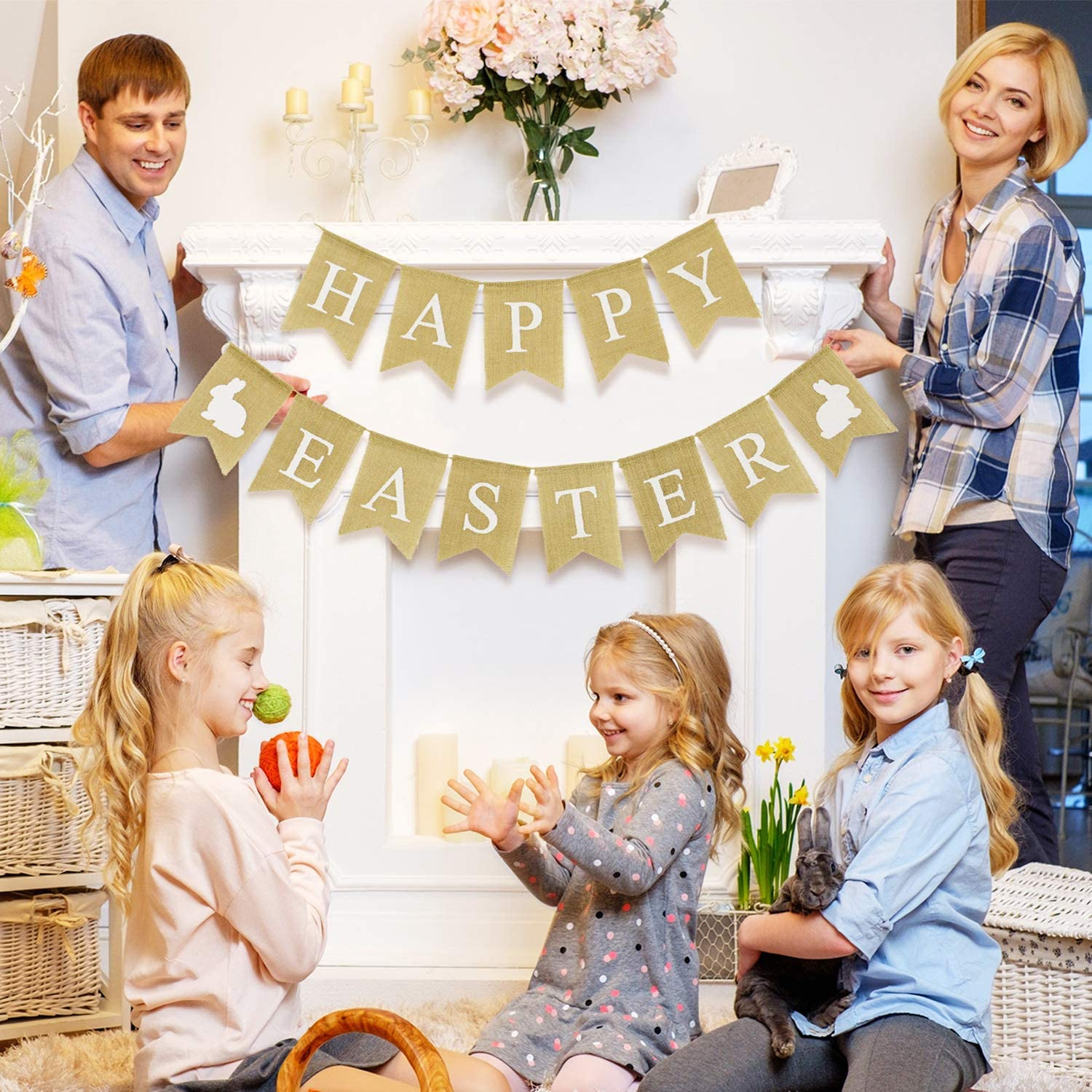 Color 2 Chuangdi Happy Easter Burlap Banner Rabbit Bunny Bunting Banner for Easter Day Room Decoration Photo Props