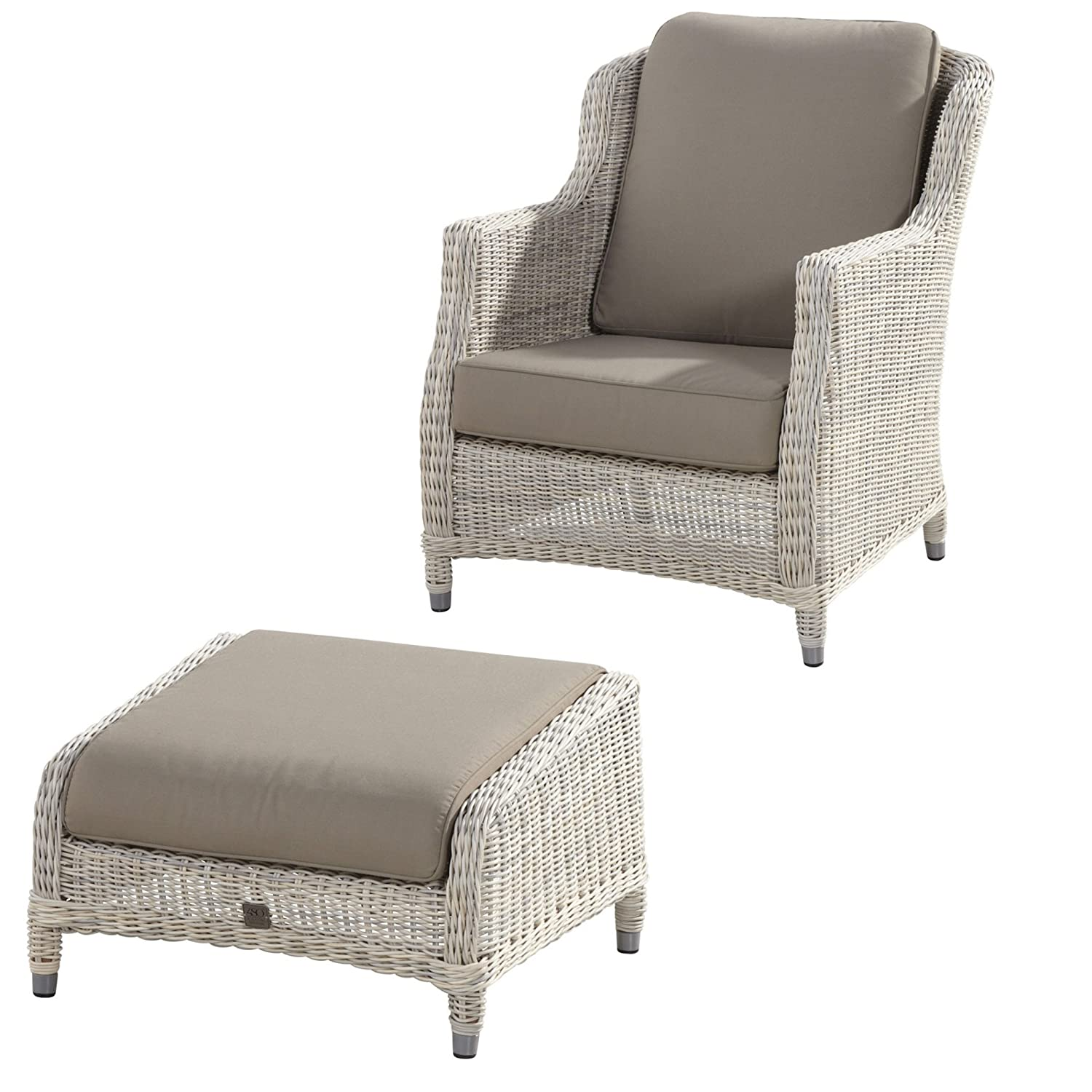 4Seasons Outdoor Brighton living Sessel mit Fußhocker Polyrattan Provance