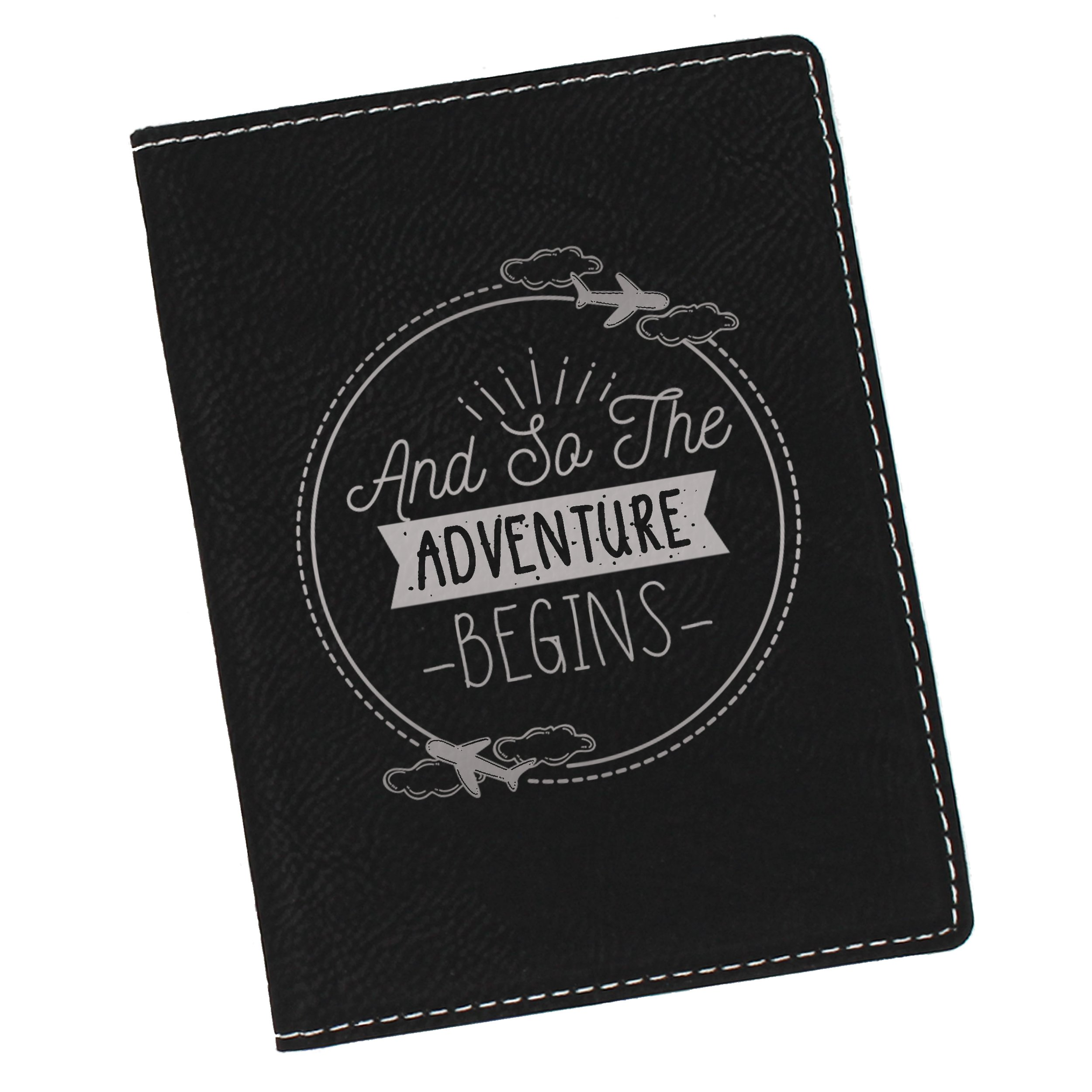 Passport Holder Cover Case - Fun Travel Gifts for Men, Women (Worth Style Black with Silver)