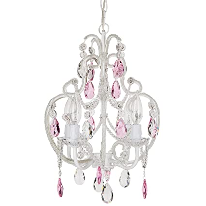 Tiffany Pink Crystal Beaded White Chandelier, Mini Nursery Plug In Pendant  4 Light Wrought