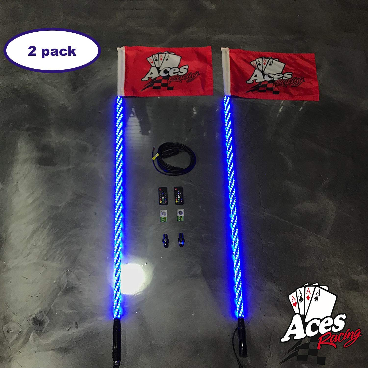 5 Foot Pair, 400 Combinations Deluxe Lighted Whips with Quick Connect and 1 Year Warranty