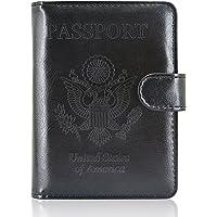 ACdream Leather Passport Holder [Bonus Stylus] Cover Case RFID Blocking Travel Wallet with Magnet Closure, Black