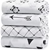 KiddyCare Muslin Baby Swaddle Blankets, Large Neutral Receiving Blankets Wrap for Baby Boy and Girl, 47 x 47 inch, Unisex Sil