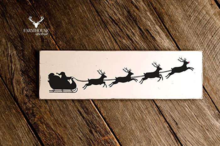 amazon com santas sleigh sign reindeer sign rudolph farmhouse