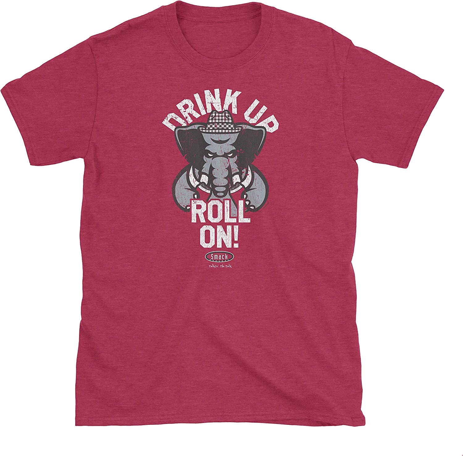 Sm-5X Drink Up Roll On Heather Cardinal T-Shirt Smack Apparel Alabama Football Fans