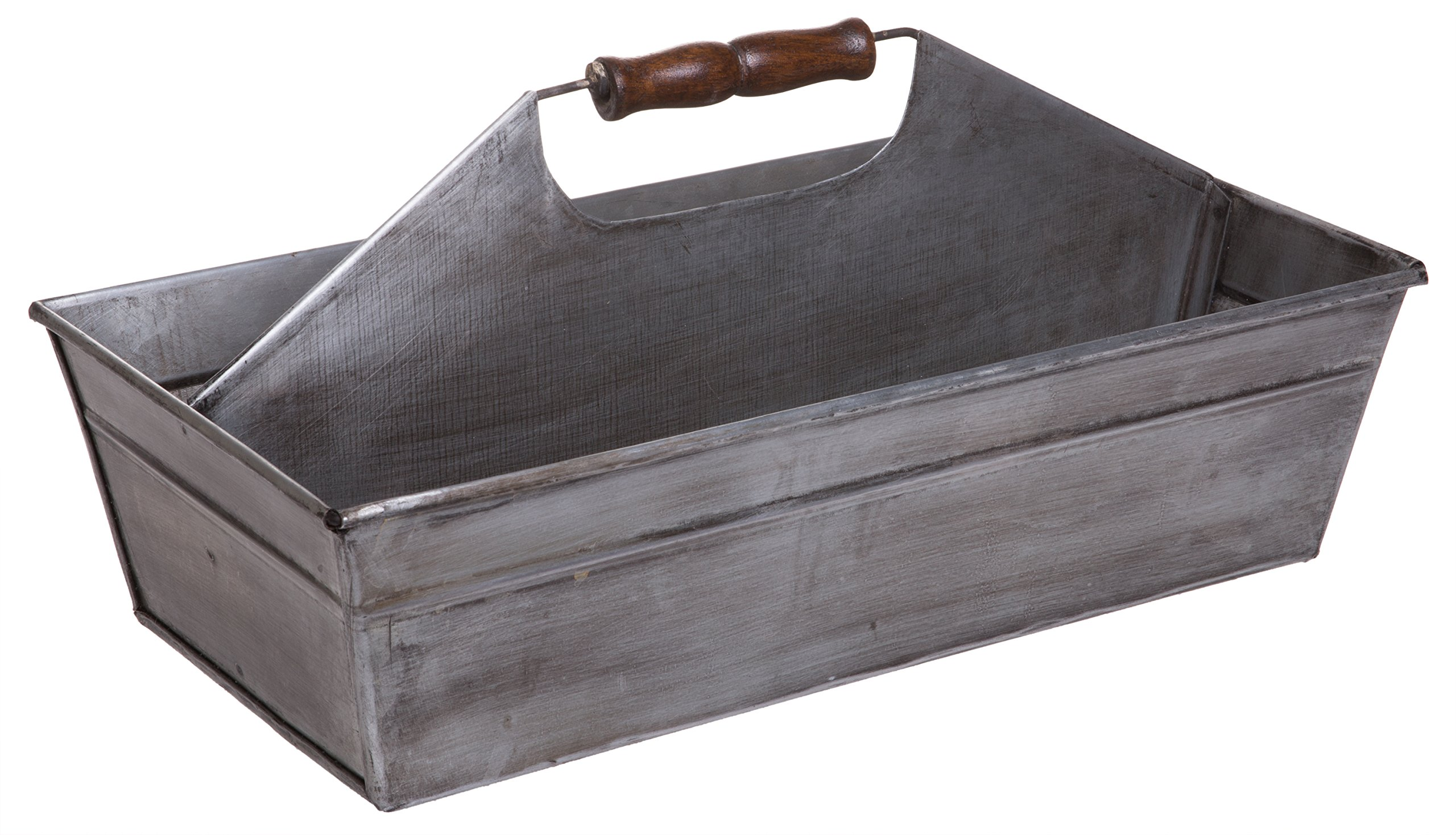 Rustic Metal Farmhouse Tote, Galvanized Storage Caddy Carry-All Tray with Wooden Handle, Large, 15-inch