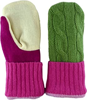 product image for Jack & Mary Designs Handmade Kids Fleece-Lined Wool Mittens, Made from Recycled Sweaters in the USA (pink/green/cream, Small)