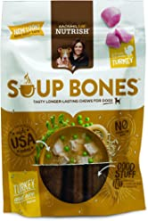 Rachael Ray Nutrish Soup Bones Dog Treats, Real Turkey & Rice Flavor, 3 Bones, 6.3 oz